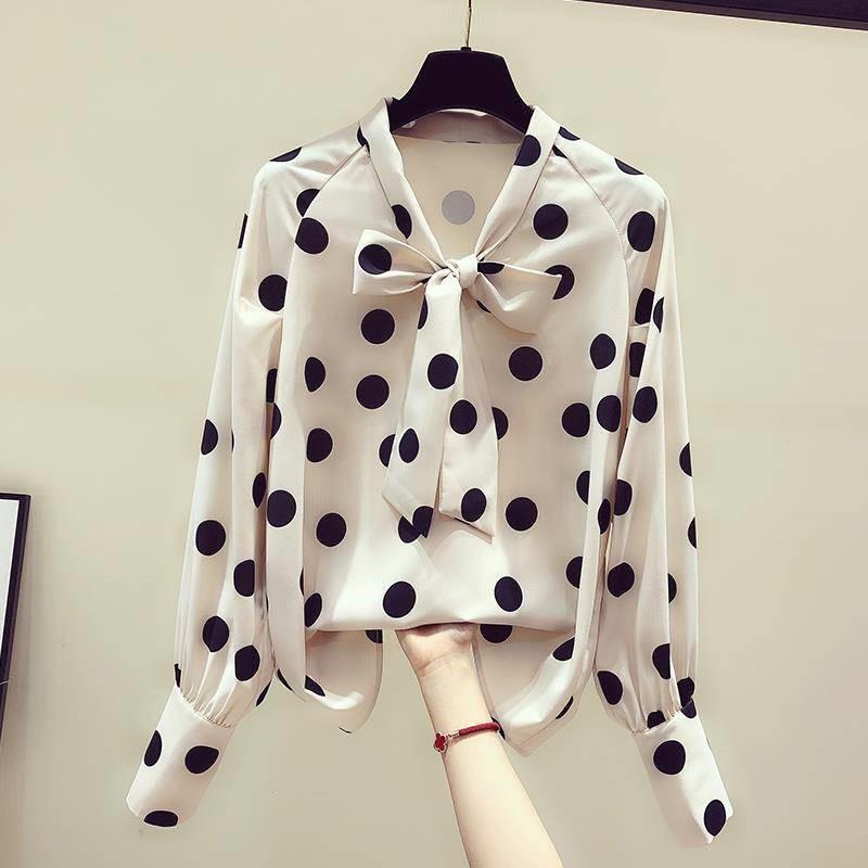 。波点雪纺衬衫女2020早夏复古少女长袖洋气系带慵懒风宽松港味