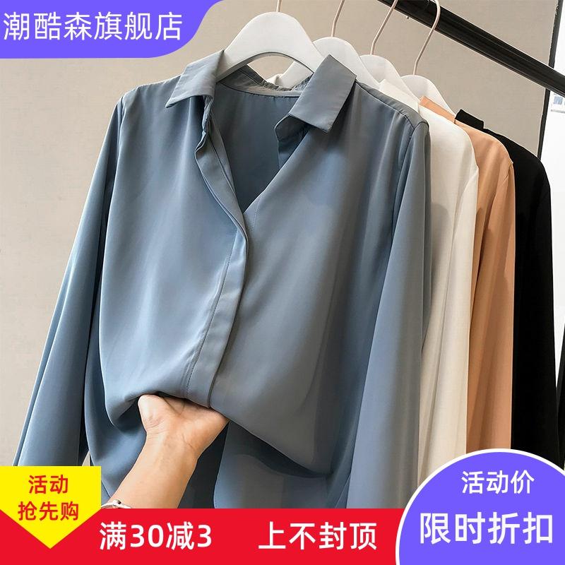 雪纺白衬衫女学生韩版宽松夏气质大码胖mm上衣女长袖V领秋装新款