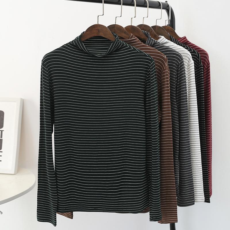 秋季新款半高领彩条打底衫韩版宽松显瘦大码长袖T恤复古条纹上衣