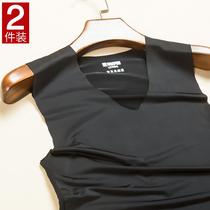 2件装男士冰丝无痕背心潮牌无袖T恤修身型夏季健身运动紧身青年