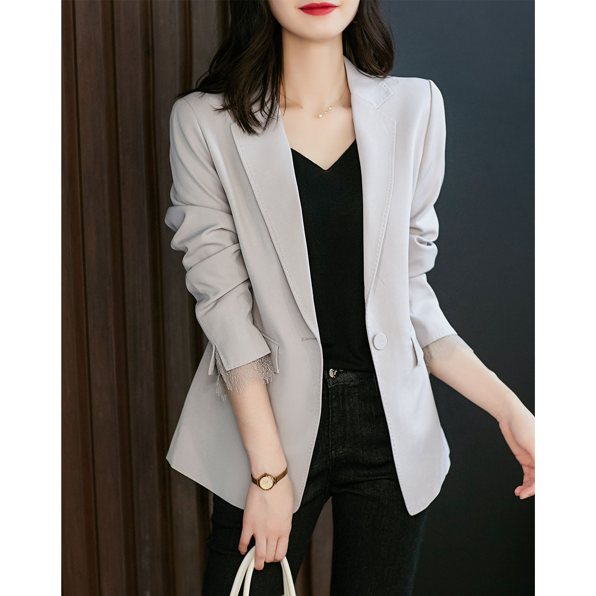 Laughing Hall INS Hundred Powder Square Suit Jacket Commuter Light Cooked OL Suit Top XZ223165AG