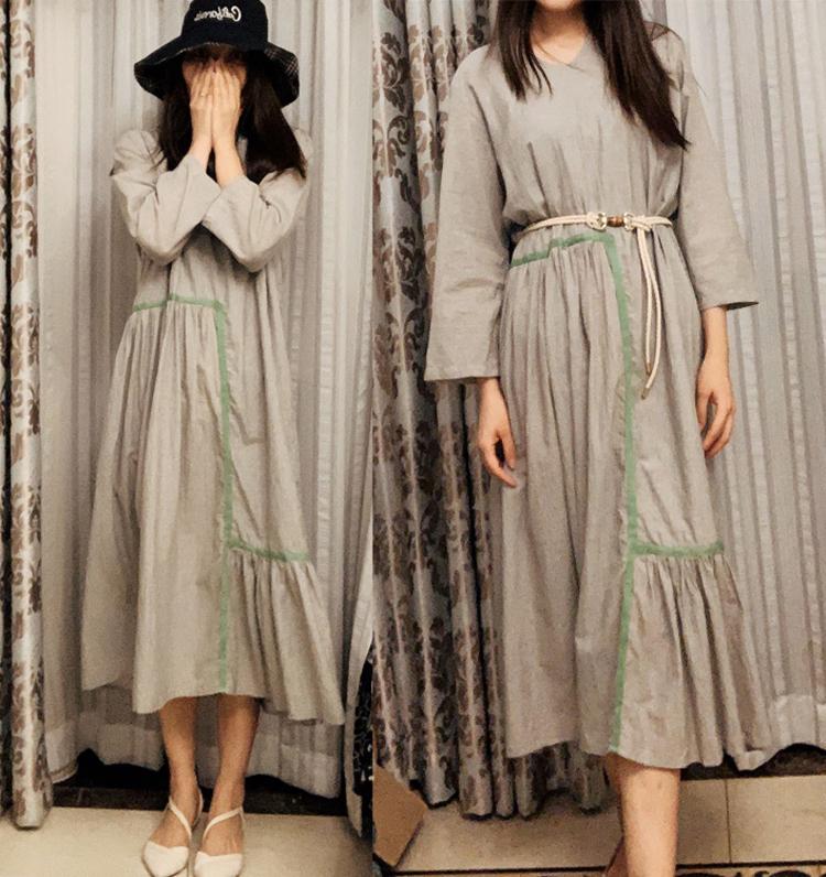 原创设计师女装V领撞色连衣裙抽褶不规则进口纯棉细条纹长裙热卖