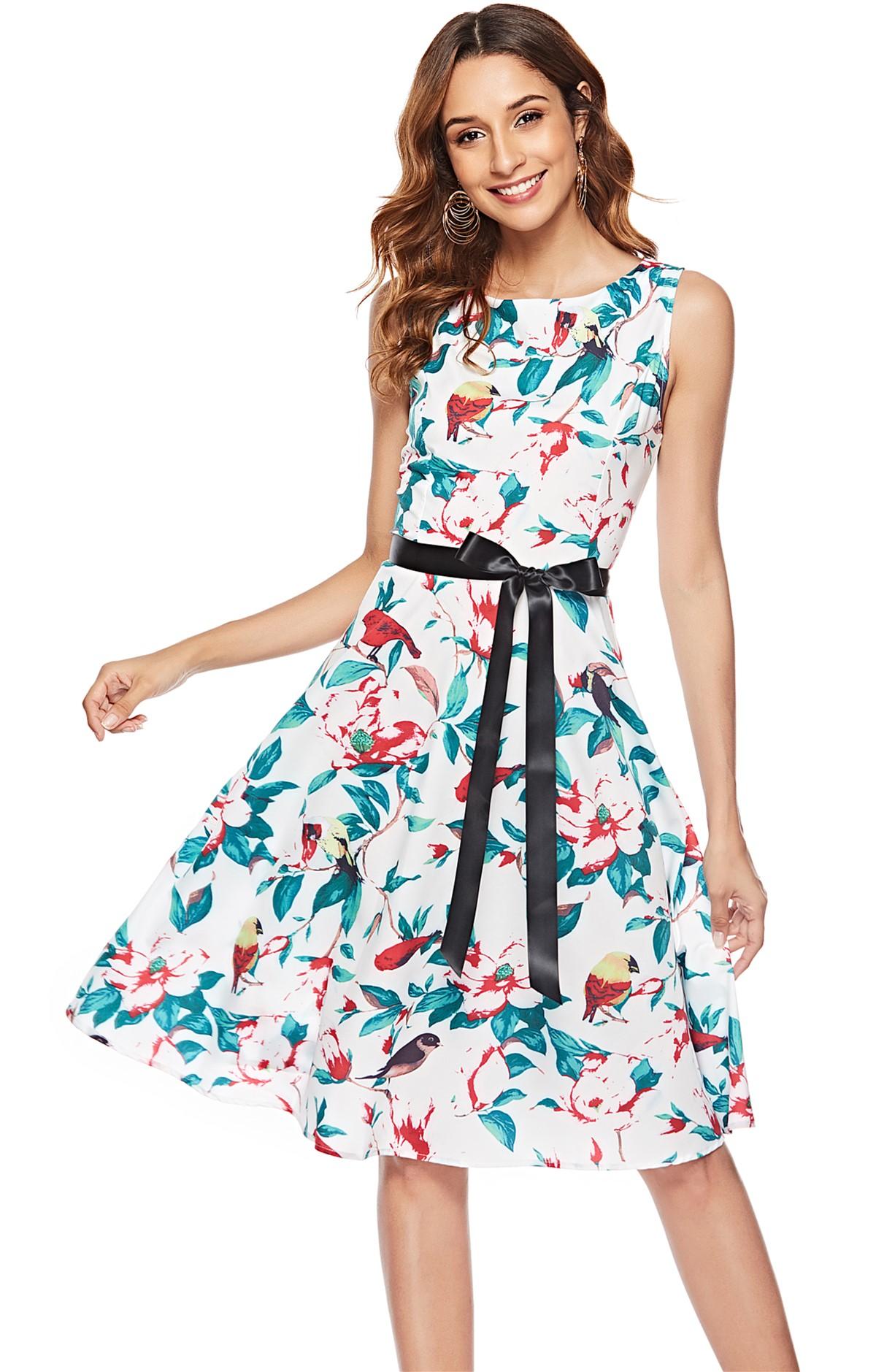 实拍 ebay速卖通亚马逊爆款复古赫本风S50收腰大摆裙连衣裙1068