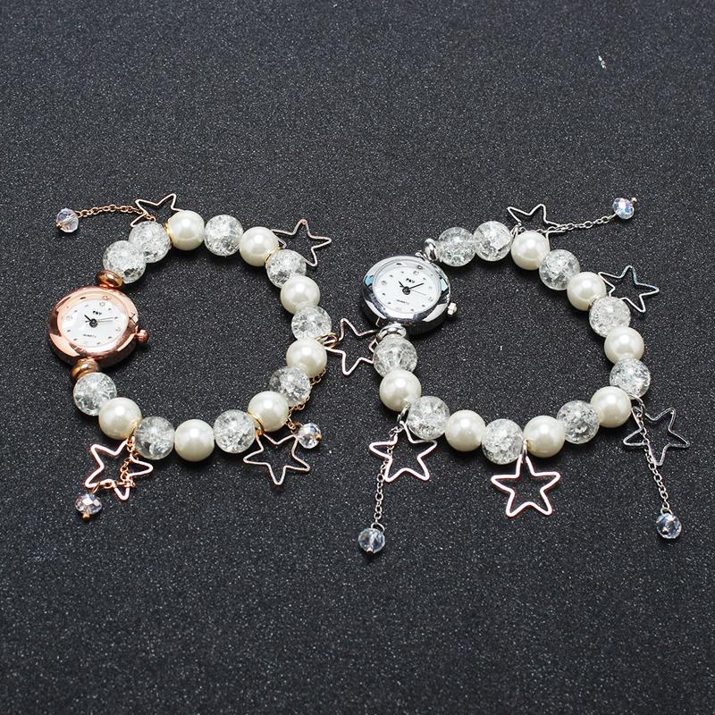 韩版休闲学生时尚潮流珍珠气质女士手链表小巧防水缠绕时装手表女