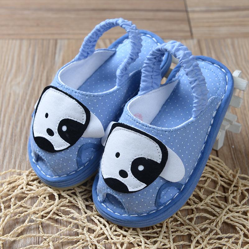 Ребенок шлепанцы весна комнатный домой этаж обувной скольжение ребенок шлепанцы мальчиков ткань обувная лето детский сад обувной