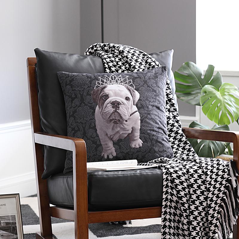 英國鬥牛犬狗狗新古典沙發抱枕靠枕 辦公室座椅靠墊 汽車抱枕