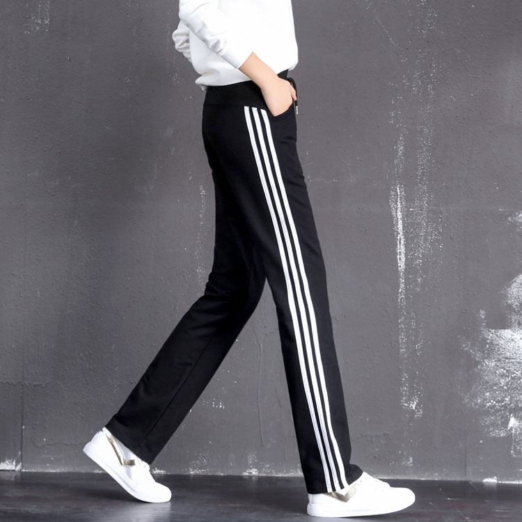 Autumn and winter 100% cotton casual pants womens straight pants loose large student three carrying sports pants running