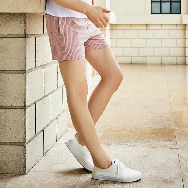 奎元 竖条纹三分裤男健身房纯棉运动短裤大码超短裤休闲沙滩粉色