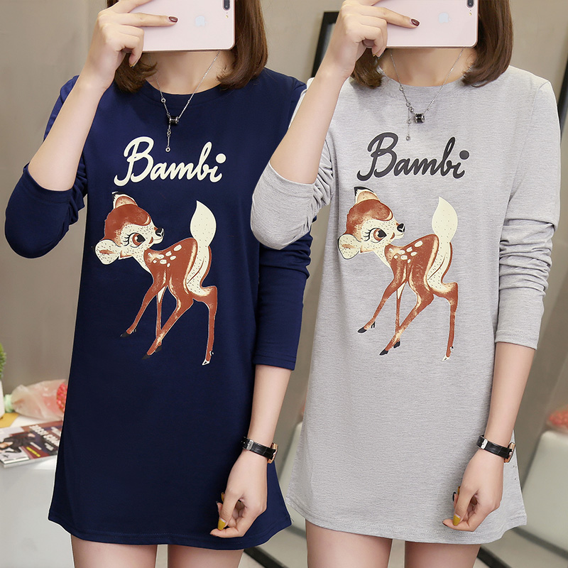 Fat mm large long sleeve T-shirt womens spring and autumn 2020
