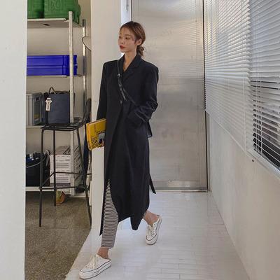 韩国代购Maybins官网正品21秋新款时尚束腰带中长款西装外套女