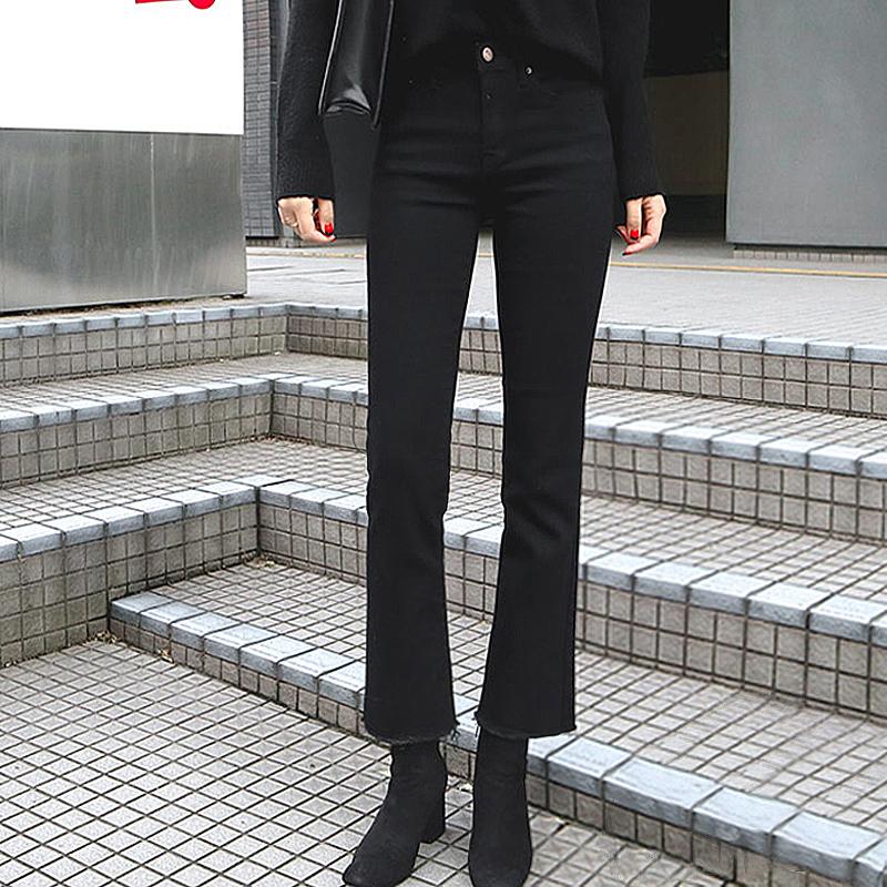 11月07日最新优惠黑色春秋2019新款高腰显瘦微牛仔裤
