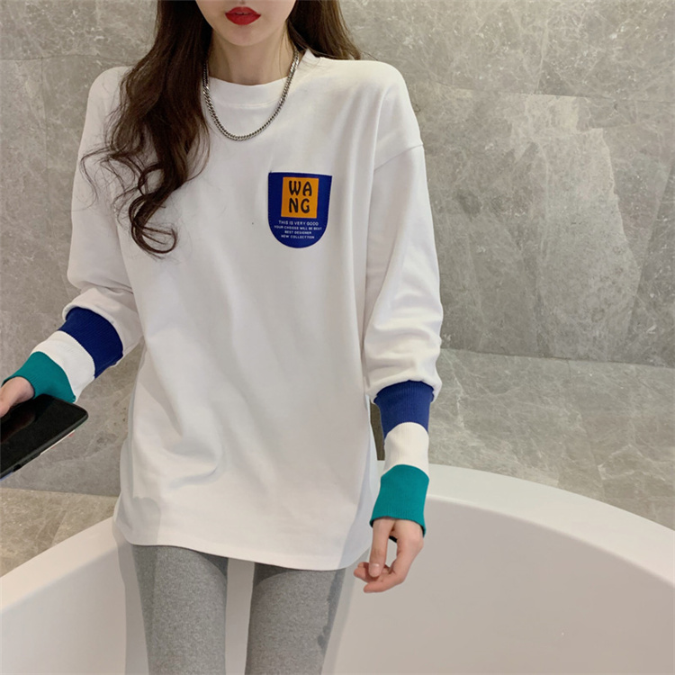 2021 spring dress Korean version new loose and thin, foreign style, bottom T-shirt, womens belly covering middle and long top