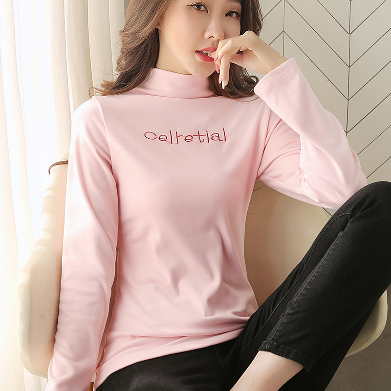 Half high collar bottomed shirt womens autumn and winter Plush thickened slim fit foreign style double-sided Plush long sleeve T-shirt de Plush inner top