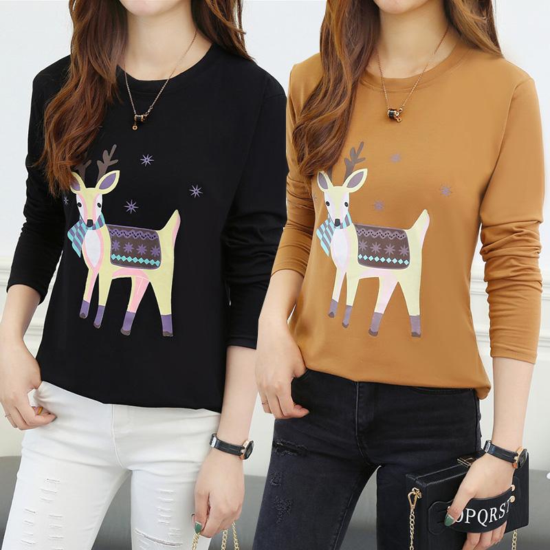Autumn clothes 2018 new large long sleeve T-shirt womens loose Korean ulzzang fat mm autumn bottoms