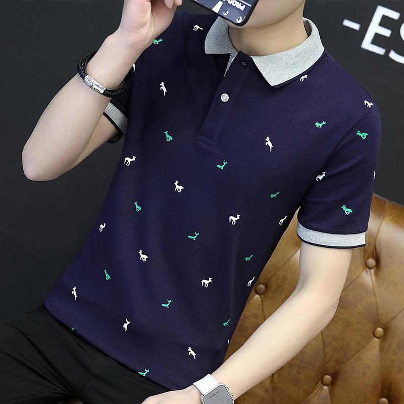 短袖t恤 男夏季新款纯棉polo衫网红款青少年学生潮牌百搭修身上衣