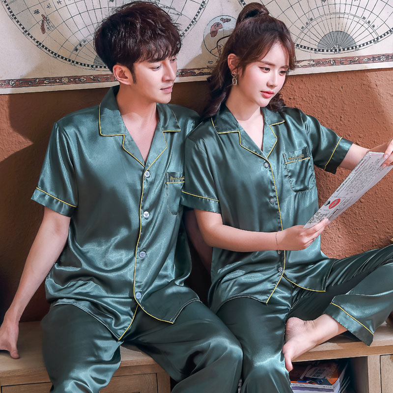 Couples pajamas ice silk suit mens and womens short sleeve trousers summer thin size oversize loose sexy home clothes