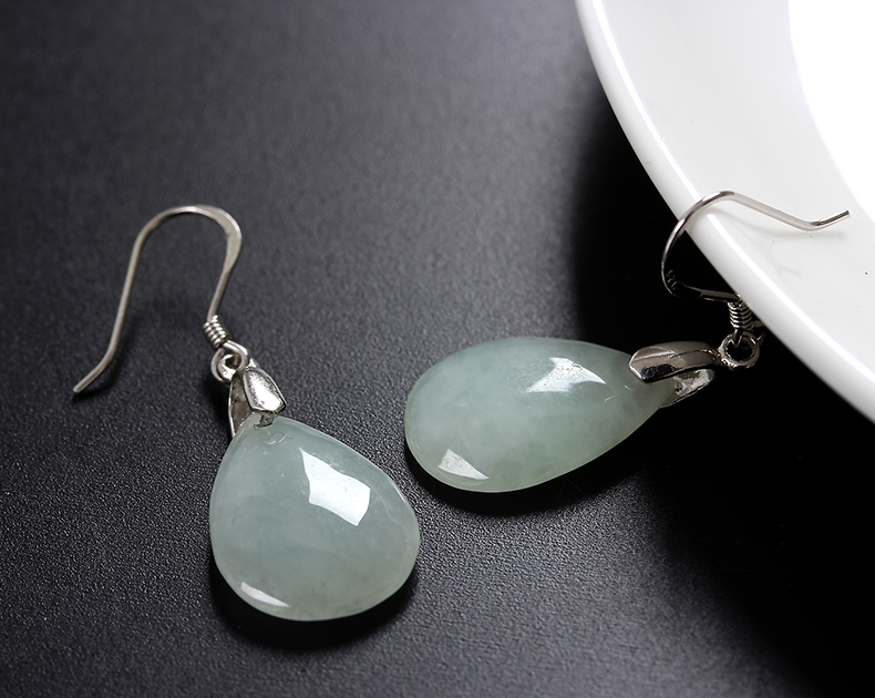 Genuine 999 Sterling Silver Earrings natural A-type emerald Drop Earrings womens long style is simple and not allergic
