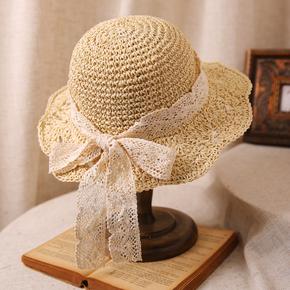 草帽女夏花朵海边沙滩帽遮阳帽子女夏防晒大沿帽太阳帽气质小清新