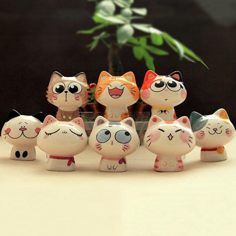 创意卡通迷你可爱陶瓷猫咪眼镜手机店玻璃展示酒柜台装饰品小摆件