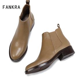 低粗中跟短靴女春秋单靴裸靴及踝靴切尔西马丁靴卡其色真皮英伦风