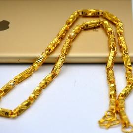 沙金首饰正品999越南沙金项链男士黄金色实心粗久不掉色纯金色图片