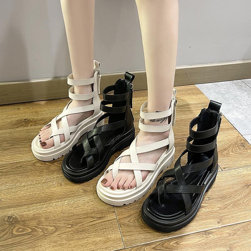 夹趾凉鞋女仙女风2021夏季新款松糕厚底高帮镂空罗马沙滩夹脚凉靴