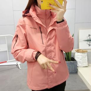 户外三合一冲锋衣女式套装防风防水登山服透气可拆卸两件套外套冬