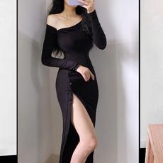 2020新款欧美风显瘦性感修身露单肩开叉长袖包臀紧身长款连衣裙秋