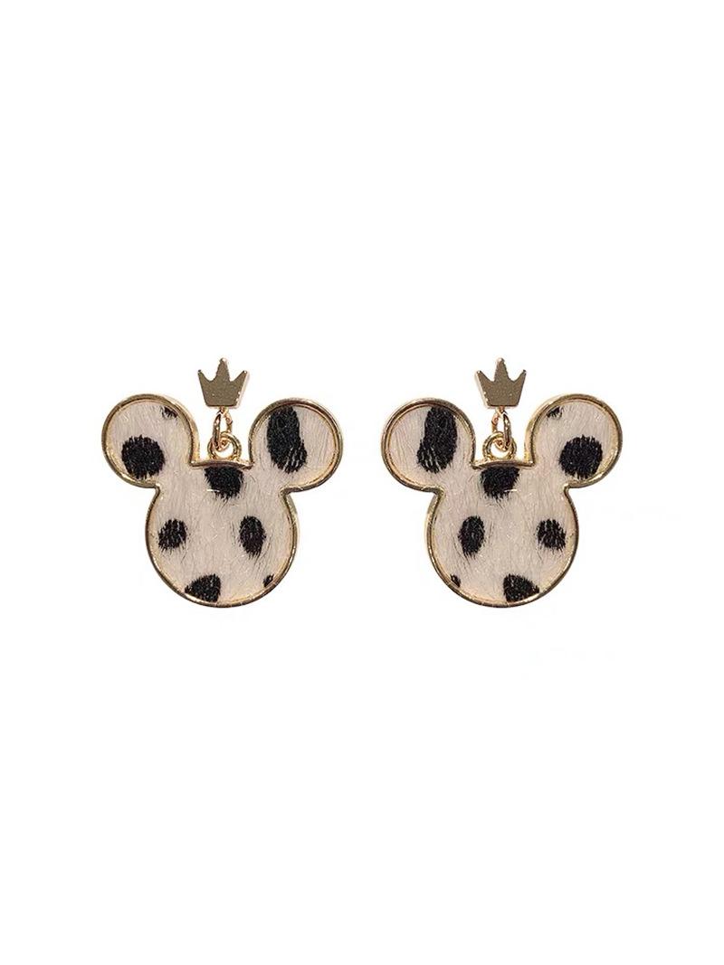 2020 new pink leopard cat Kawaii cat crown cartoon Mickey Mouse Ear Stud