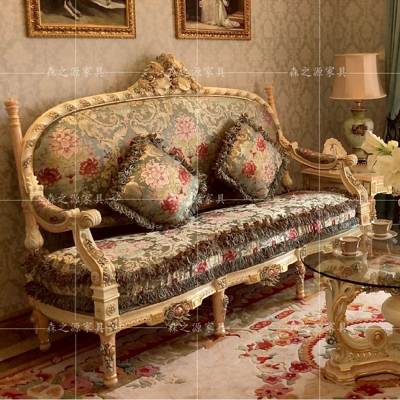 Italian pure solid wood carved sofa group European luxury 123 sofa French court three person sofa villa home