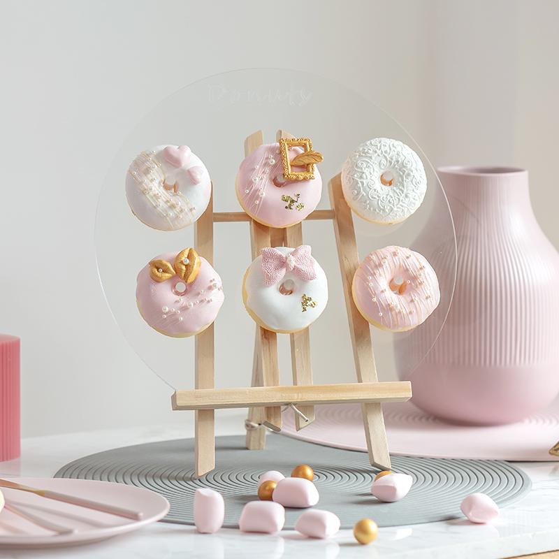 甜甜圈仿真食物拍摄道具金粉婚庆婚礼假蛋糕面包玩具模型橱窗装饰