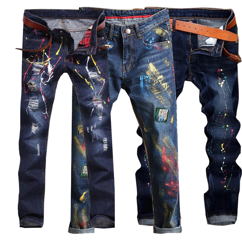 Paint jeans mens printing ink splashing pants beggars personality small feet low waist slim trend holes European and American style summer