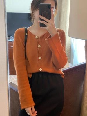 韩国东大门正品女装秋冬季新款 圆领长袖 纯羊绒羊毛针织开衫外套