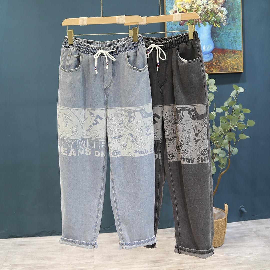 2021 new ins cartoon print jeans mens trend handsome loose straight wide leg pants elastic waist pants