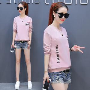 秋衣服 韩版青少年大童宽松长袖T恤女外穿初中高中学生小衫打底衫