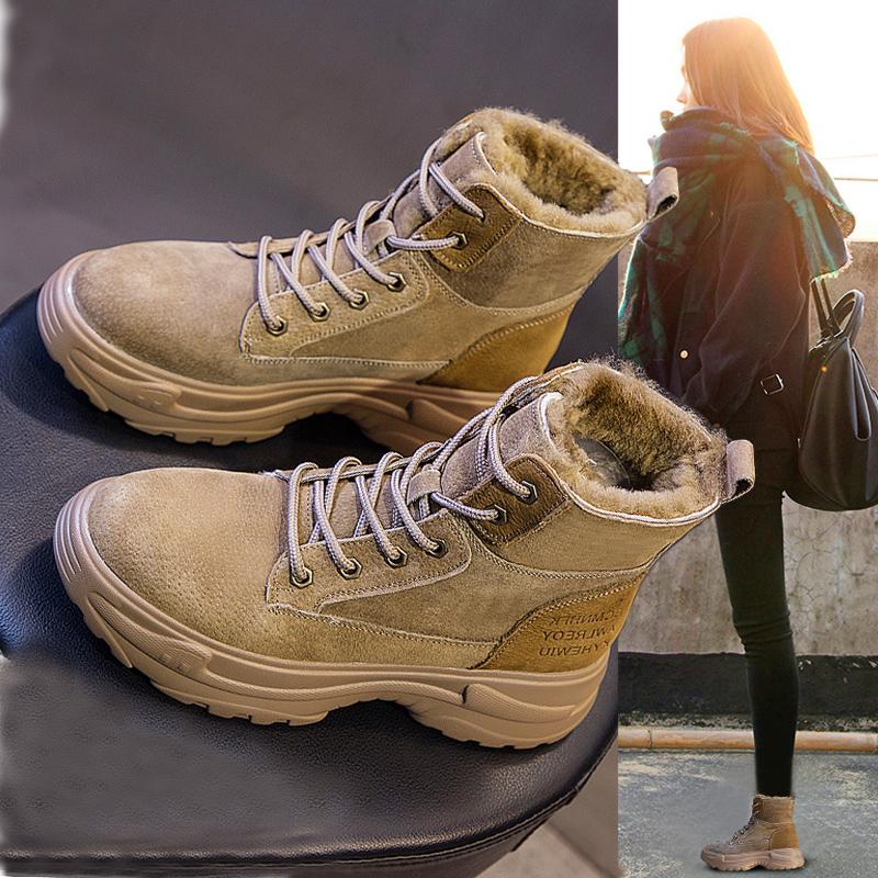 冬季厚底雪地靴女短筒2019新款时尚东北棉鞋加绒女鞋百搭马丁靴子