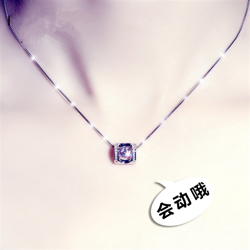 Zhenrong Korean New Angel kiss dance dance pendant Plated 925 silver female Necklace