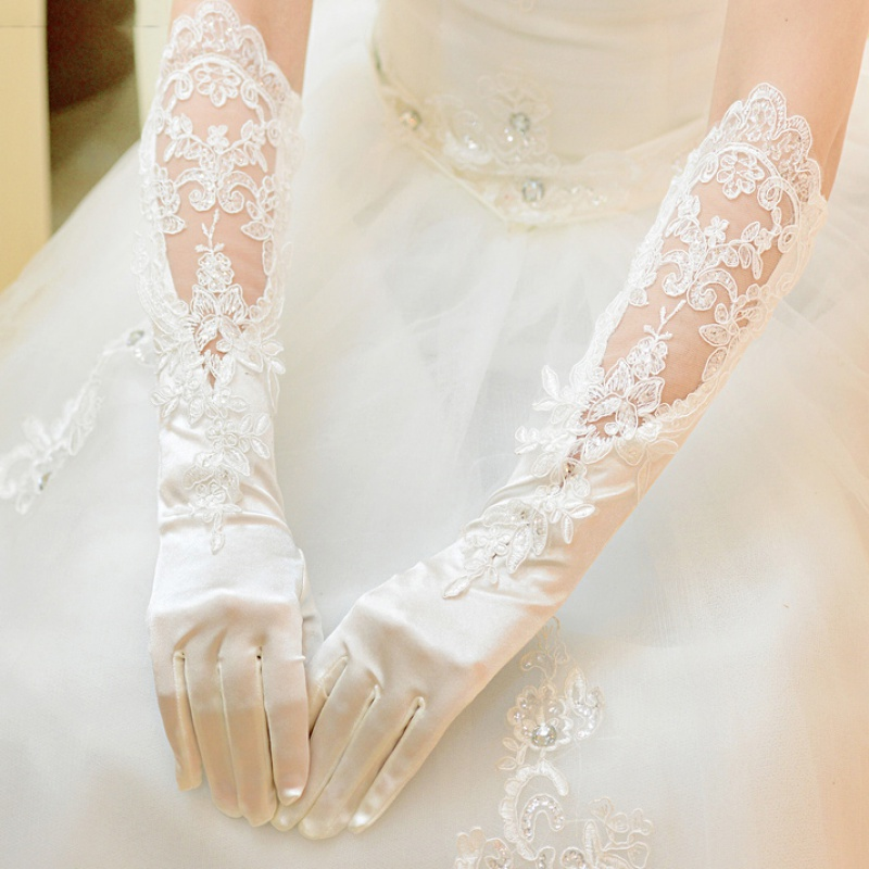 Wedding Gloves Lace Long White travel dress long gloves wedding ceremony Bridal Gloves satin