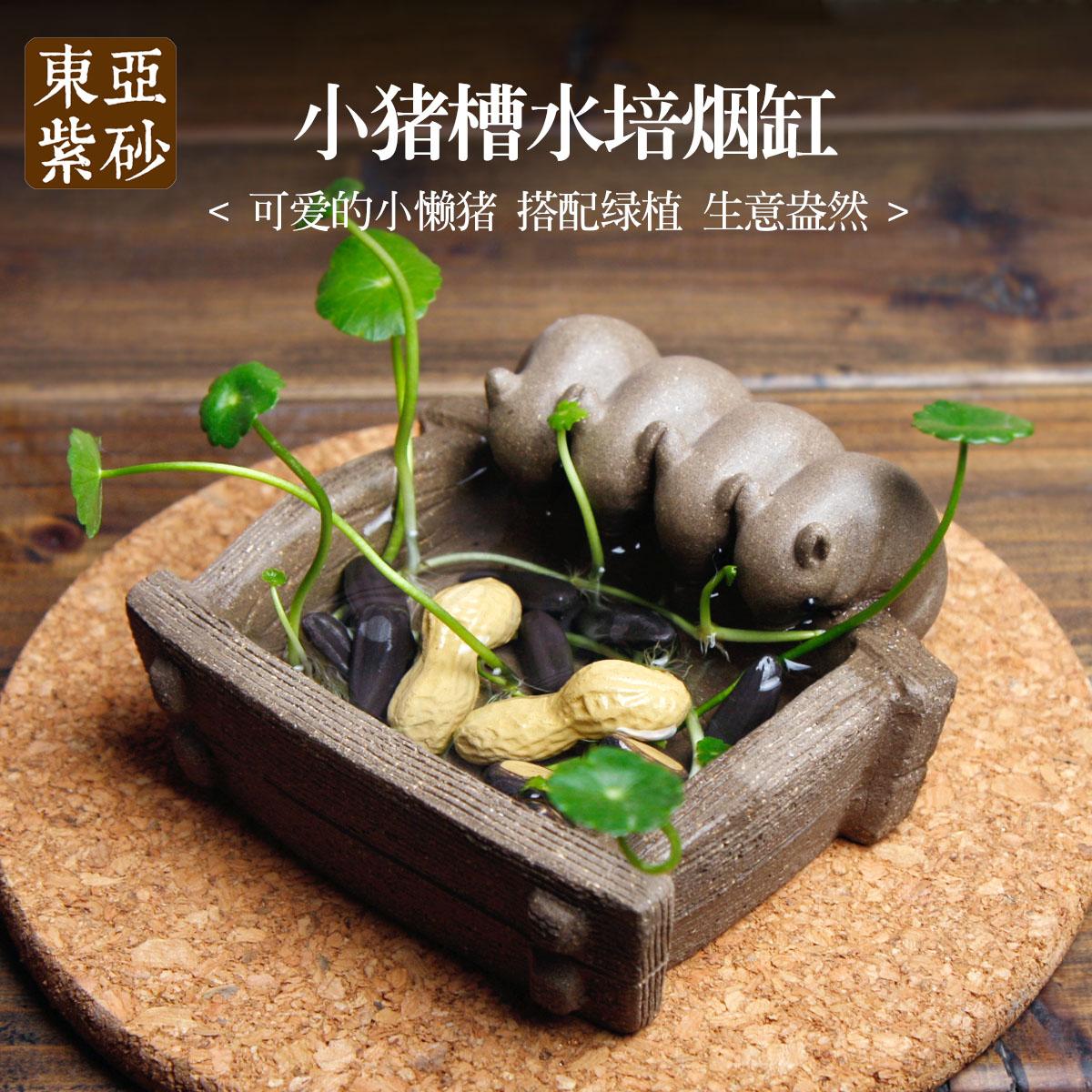 宜興紫砂茶寵擺件 可養茶具茶擺件 水培煙灰缸小豬喝水