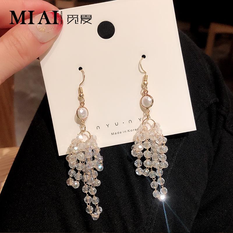 热销75件限时2件3折水晶流苏2019韩国新款长款法式耳环