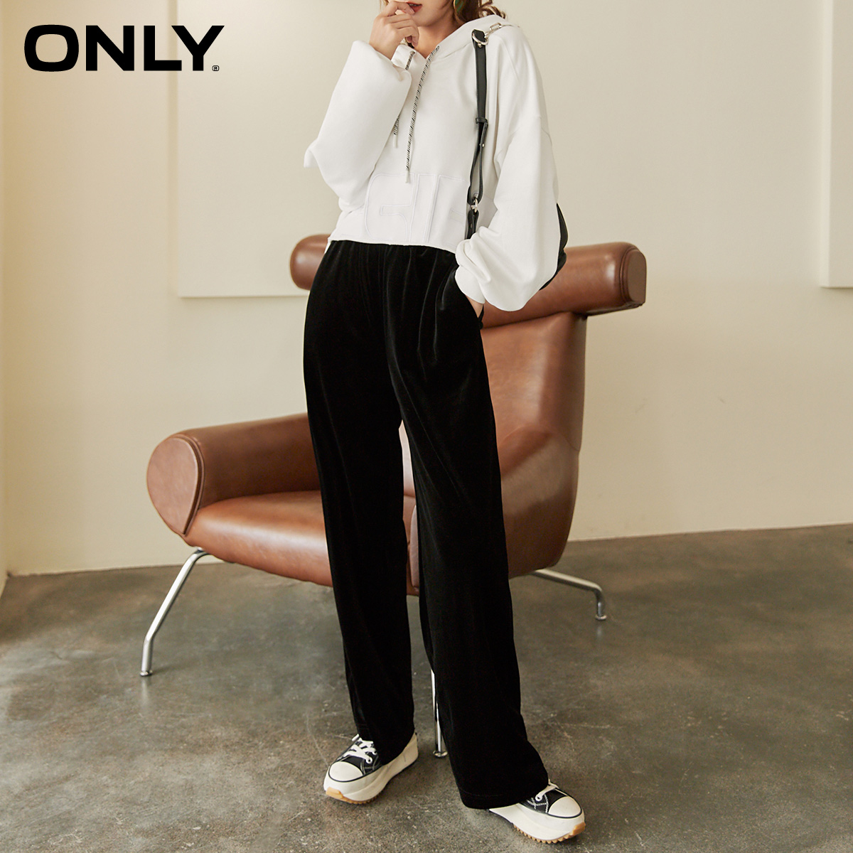 ONLY2020 autumn new loose wide-leg drape and thin velvet long casual pants female 120474001