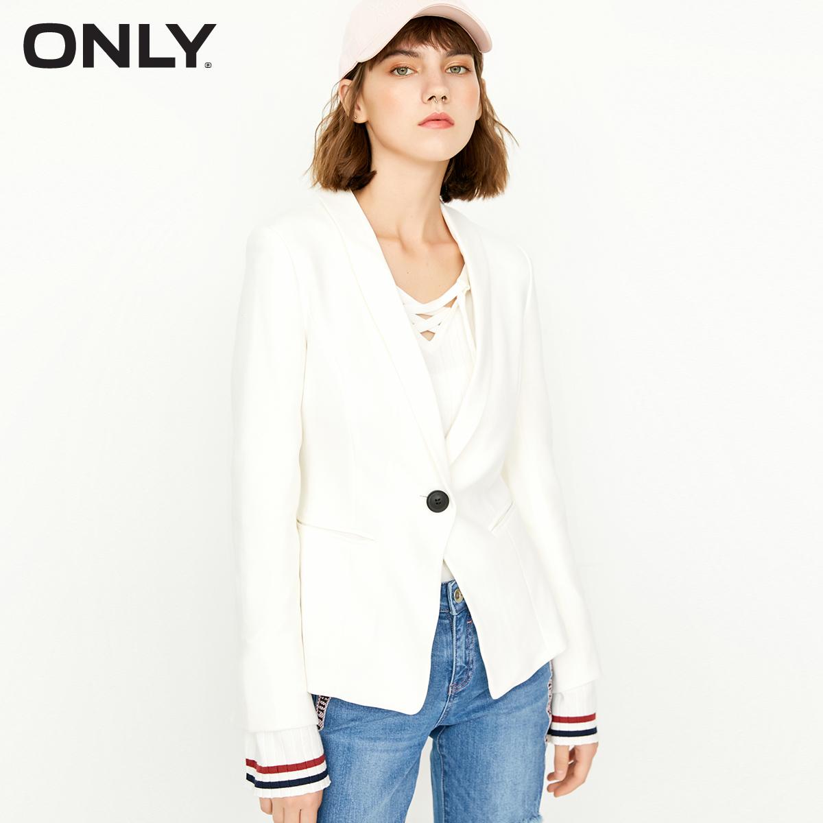 【满500减50】ONLY2017冬季新品袖口修身短款西服女 117308522