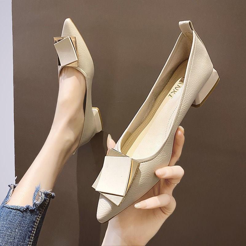 2021年新款法式小高跟单鞋尖头粗跟晚晚风温柔鞋百搭中跟春款女鞋