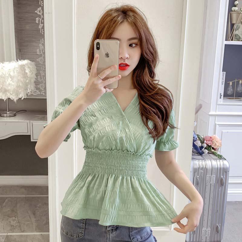 Chiffon shirt womens short sleeve 2021 summer new V-neck Ruffle waist closing thin doll shirt foreign style top fashion