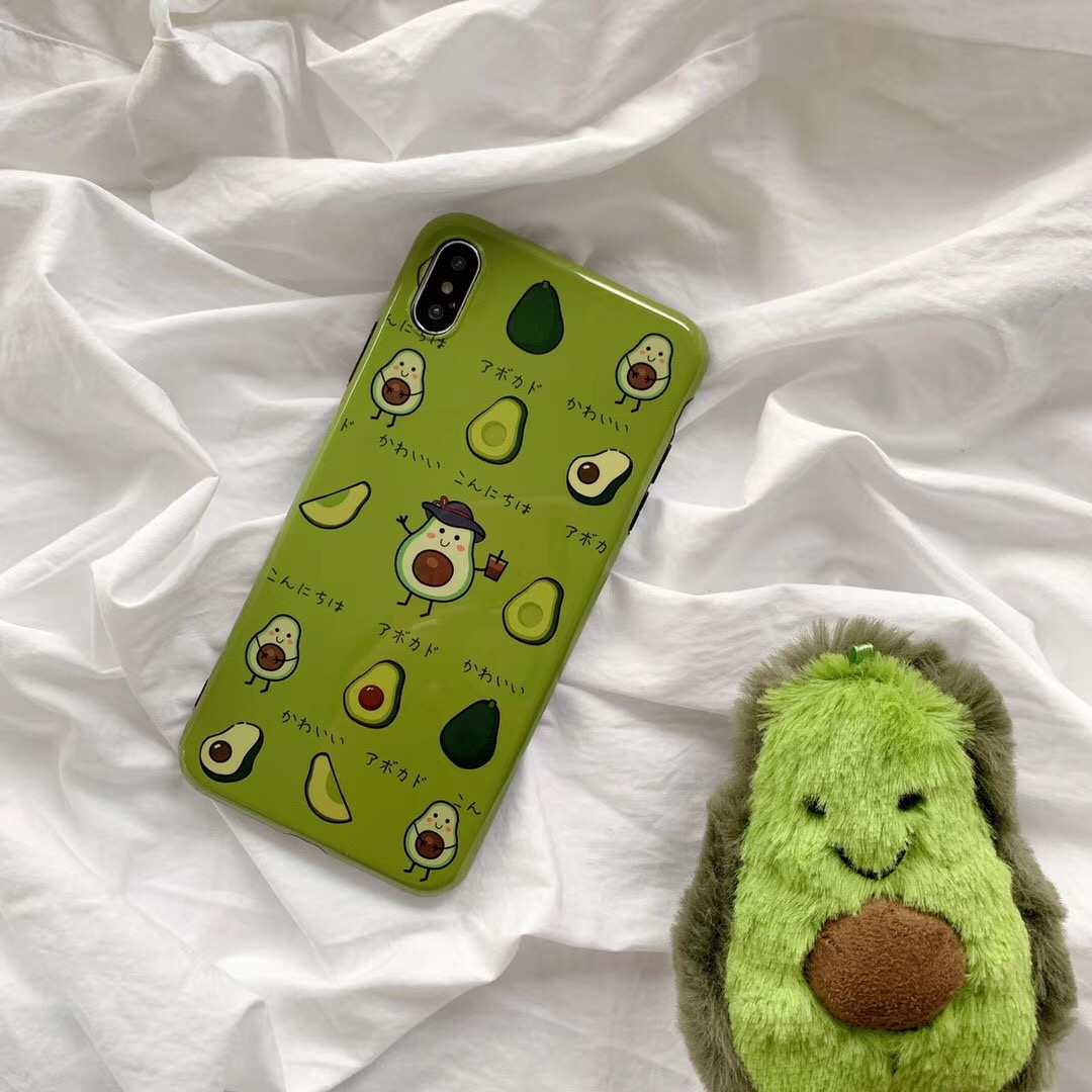 ins风牛油果绿苹果XS手机壳iphoneXSMAX可爱7/8plus防摔软套XR/6S