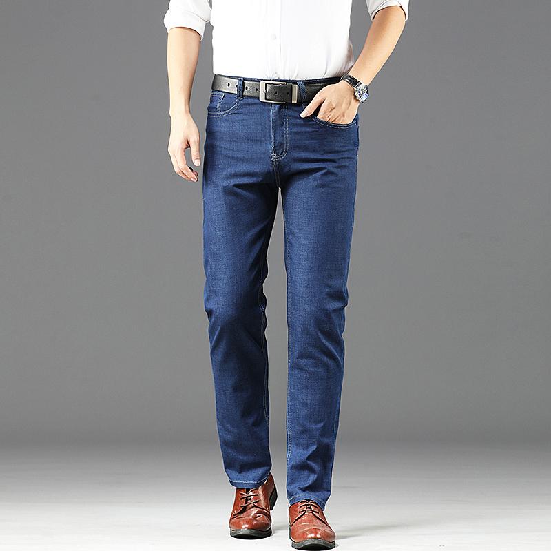 男士弹力牛仔裤夏天薄款直筒商务休闲裤中年宽松直筒长裤爸爸裤子