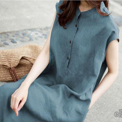 棉麻连衣裙2019新款夏季时尚短袖女装宽松大码遮肚亚麻棉显瘦裙子