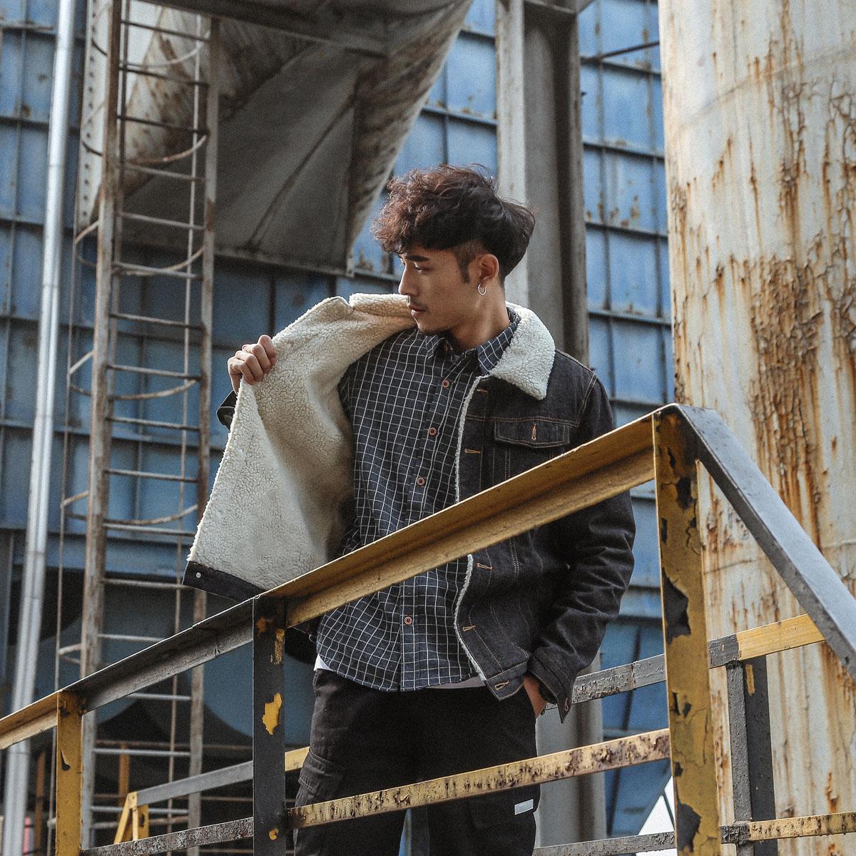 羊羔毛牛仔外套欧美日系男棉服冬季工装潮毛领加绒加厚棉衣外套