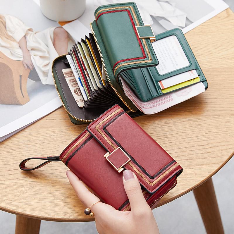 折叠小钱包女短款2021新款一体包零钱包三折简约小巧大容量卡位潮
