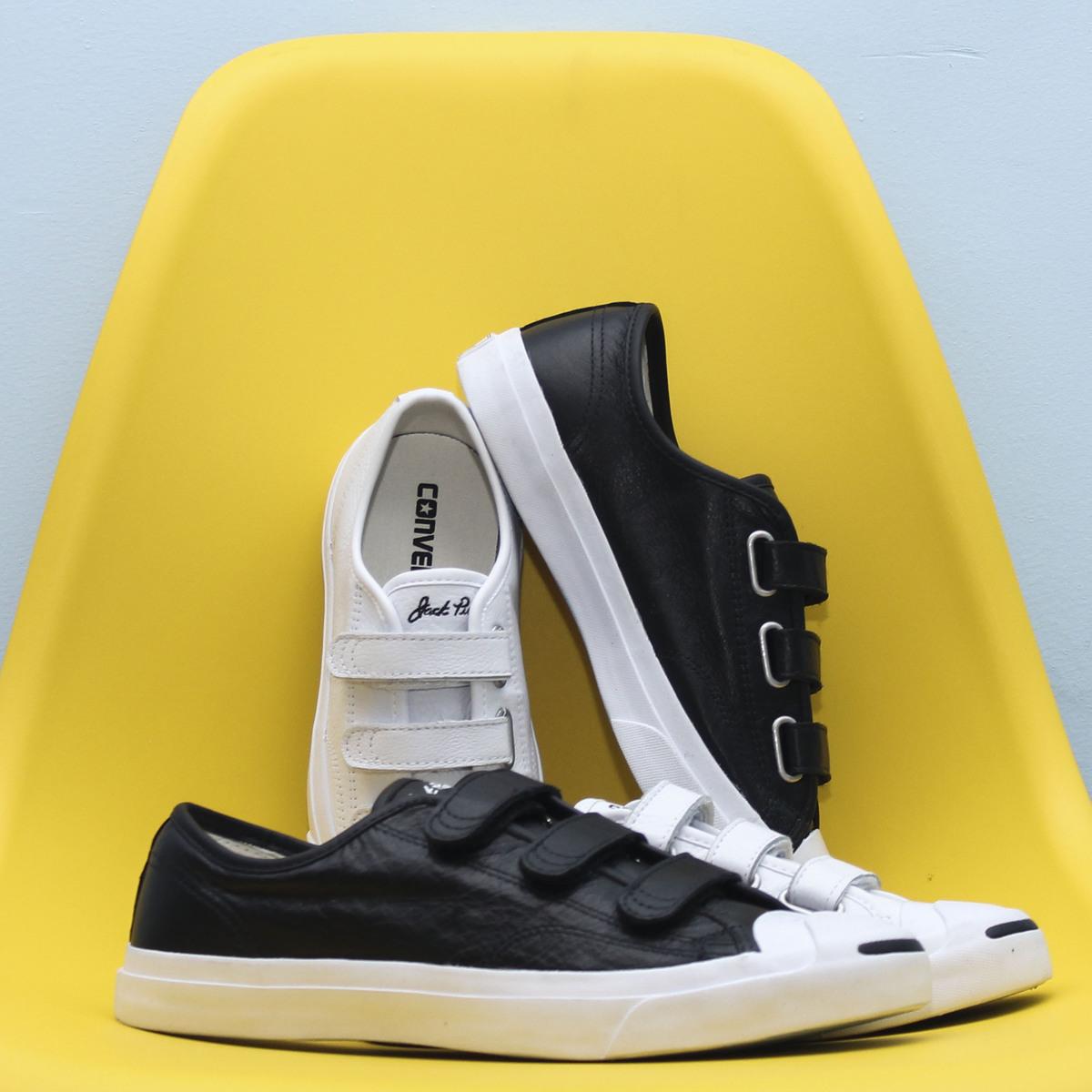 10月20日最新优惠Converse匡威3V魔术贴开口笑黑白色牛皮低帮帆布鞋160207 16020